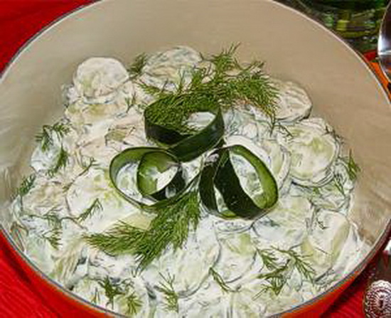Салат огурец укроп сметана