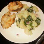 Oslić sa krompir salatom i blitvom