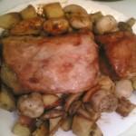 Pečena teletina i  svinjetina sa krompirima i šampinjonima
