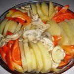 Složenac od krompira, paprike i šampinjona