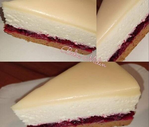 Cheesecake sa višnjama i bijelom čokoladom